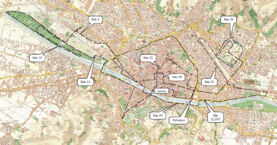 Il percorso della Maratona Firenze 2015
