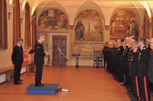 Il generale Giuliani durante l'incontro alla Legione Carabinieri Toscana