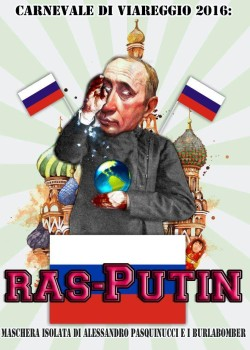 La maschera di Putin al Carnevale di Viareggio 2016