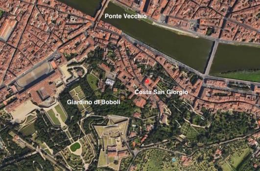 La posizione di Costa San Giorgio, tra Palazzo Pitti, Boboli e Ponte Vecchio