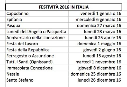 Festività in Italia 2016