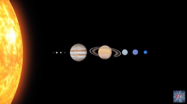 """I pianeti del sistema solare. L'ultimo a destra è il """"nono"""""""