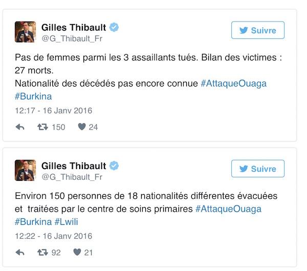 Alcuni dei tweet dell'ambasciatore francese