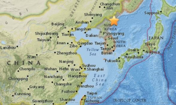 La zona del terremoto in Corea del Nord