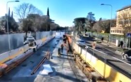 Il cantiere in viale Morgagni ripreso dal drone