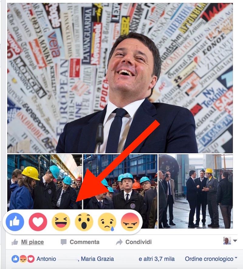 """I nuovi simboli delle """"reactions"""" sulla pagina Facebook di Matteo Renzi"""