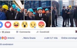 I nuovi simboli delle reactions sulla pagina Fb di Matteo Renzi