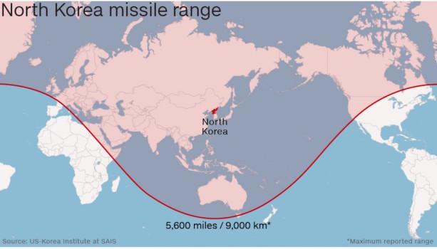 Il raggio di azione del supermissile nordcoreano