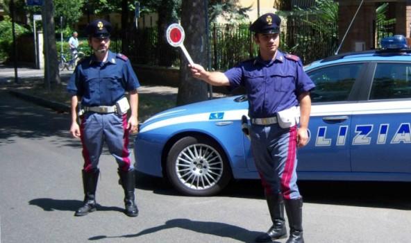 Un posto di blocco della Polizia stradale