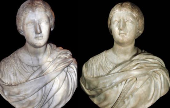 Ritratto femminile durante e dopo il restauro