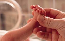 Un bambino prematuro in una incubatrice
