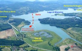 La mappa delle ricerche sul Lago di Bilancino (Elaborazione OsservatoreLibero.it su foto Mario Nocentini)