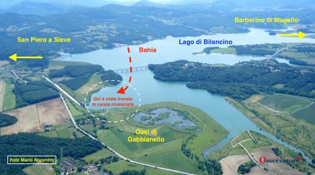 La mappa delle ricerche sul Lago di Bilancino