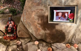 L'immagine del magistrato Tindari Baglione accanto alla Madonna di Tindari