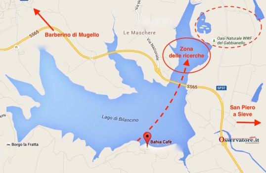 La zona delle ricerche sul lago di Bilancino
