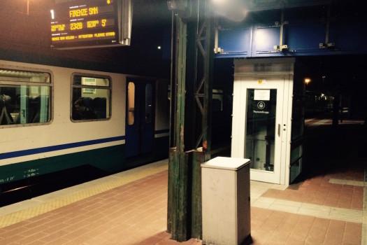 La piattaforma elevatrice del binario 1 alla Stazione Firenze Campo Marte