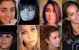Da sin in alto: Francesca Bonello, Serena Saracino, Elisa Scarascia Mugnozza. In basso da sin. Valentina Gallo, Elisa Valent, Lucrezia Borghi. A destra Elena Maestrini