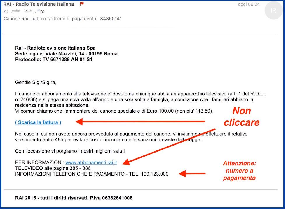 Canone rai 2016 in arrivo false email con solleciti di - Abbonamento rai pagamento ...