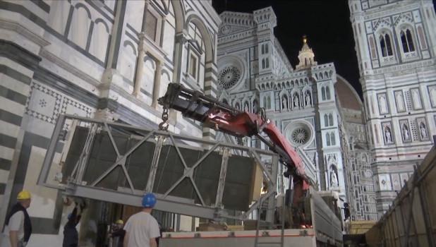 Ore 22,30 del 15 aprile 2016: la Porta Sud lascia il Battistero di Firenze