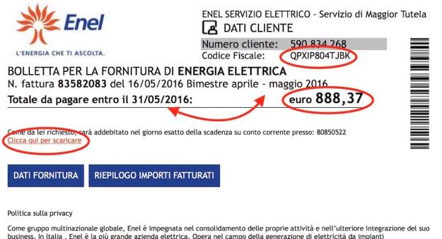 Un falso avviso di pagamento Enel