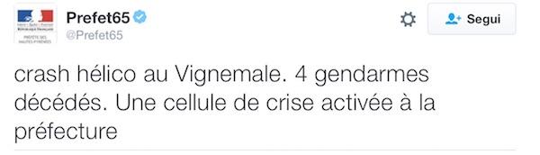 Il tweet della Prefettura degli Alti Pirenei