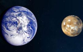 Il confronto tra la Terra (a sin.) e Marte