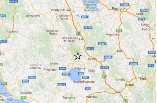 L'epicentro del terremoto tra Umbria. Lazio e ToscanaL'epicentro del terremoto tra Umbria. Lazio e Toscana