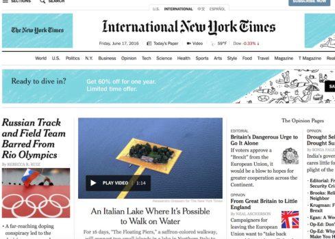 La prima pagina del NYTimes del 18 giugno