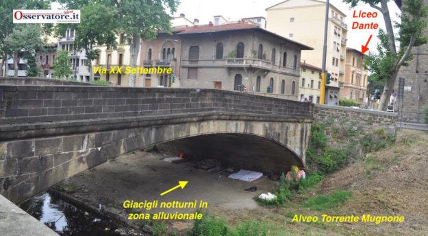 L'accampamento nomadi sotto il ponte sul Mugnone a Firenze