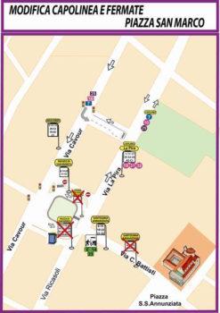 La nuova mappa delle fermate Ataf nella zona di piazza San Marco a Firenze