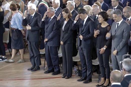 I vertici dello Stato ai funerali delle vittime del terremoto