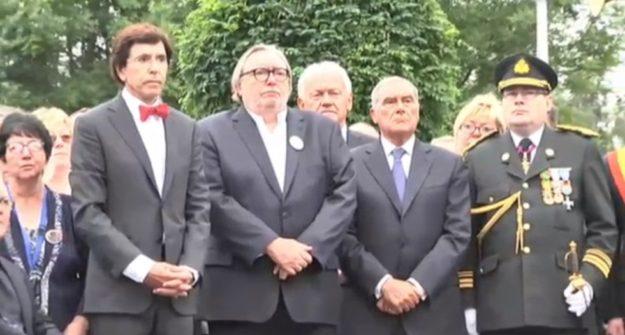 Il presidente Pietro Grasso (seconda da destra) oggi 8 agosto a Marcinelle