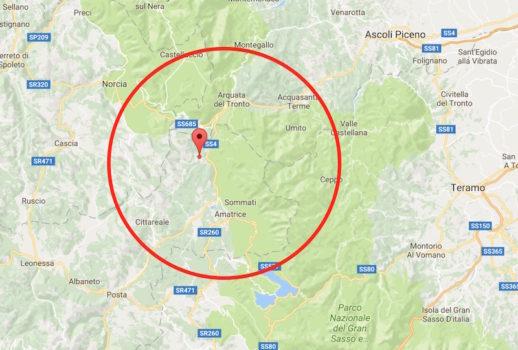 La mappa del terremoto