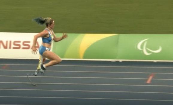 Martina Caironi durante la gara dei 100 m