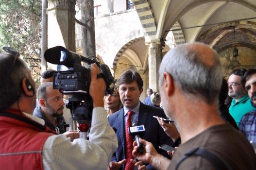 Nardella durante la conferenza stampa