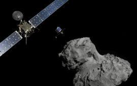 La sonda spaziale Rosetta  immaginata mentre si avvicina alla cometa