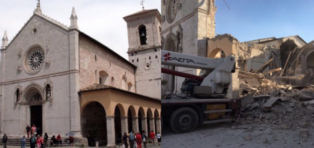 La basilica di San Benedetto a Norcia prima e dopo il crollo