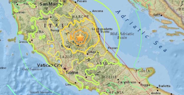 L'epicentro del terremoto di domenica 30 ottobre alle 7:40 di 6,5 magnitudo