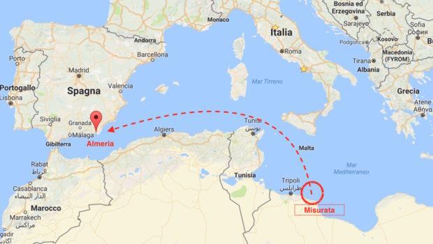 Il luogo dell'intervento a 100 miglia dal porto libico di Misurata