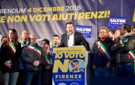 Matteo Salvini al comizio di Firenze il 12 novembre 2016 per il No al referendum