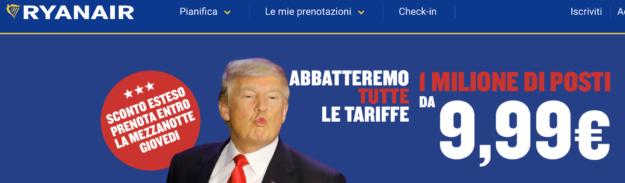 L'home page del sito Ryanair di giovedì 10 novembre