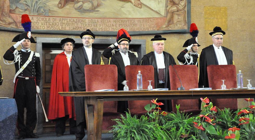 I giudici della Sezione Giurisdizionale della Toscana della Corte dei Conti. Da sin Adriano Gribaudo, Angelo Bax, il presidente Amedeo Federici, Nicola Ruggiero