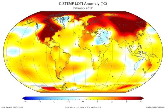 La mappa della variazione di temperature a Febbraio 2017 (Finte Giss Nasa)
