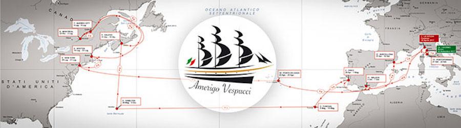 La rotta di Nave Vespucci 2017 in Atlantico