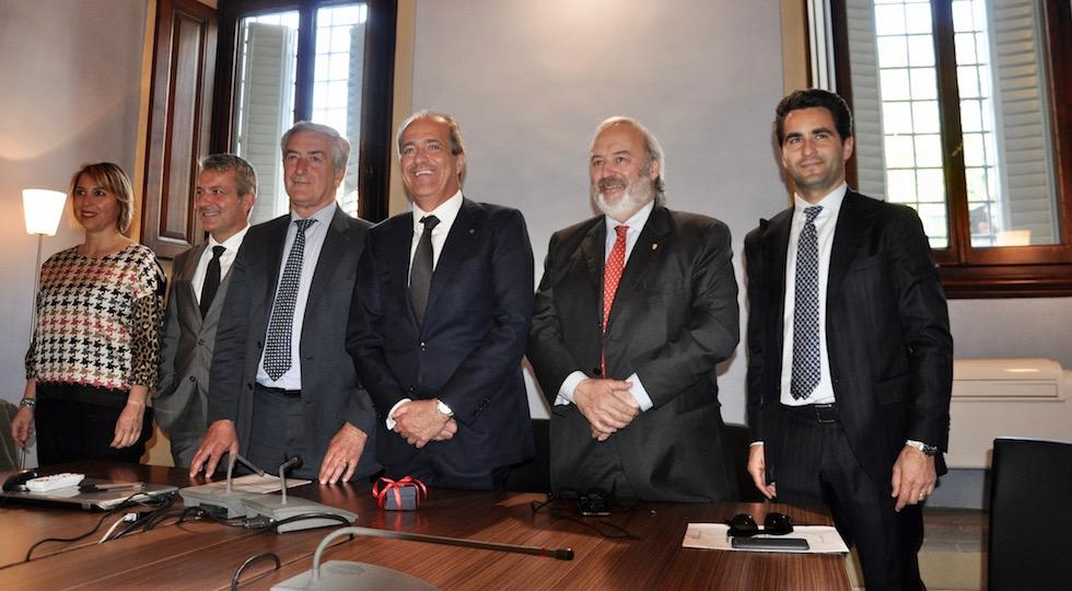 da sin. Azzurra Morelli, Stefano Gabbrielli, Fabrizio Monsani, il presidente Luigi Salvadori, Enrico Bocci, Lapo Baroncelli