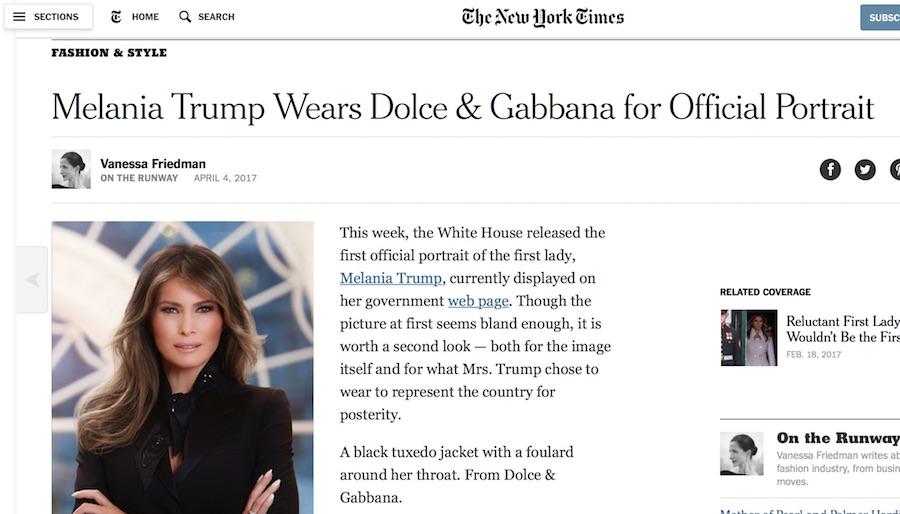 Il titolo del New York Times che fa pubblicità a DG