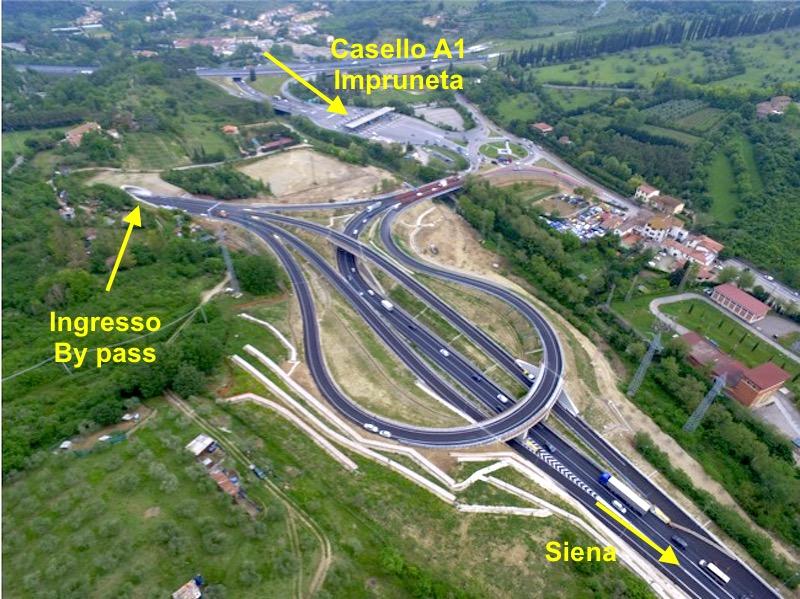 Il nuovo by pass è il tratto terminale dell'autopalio Siena Firenze