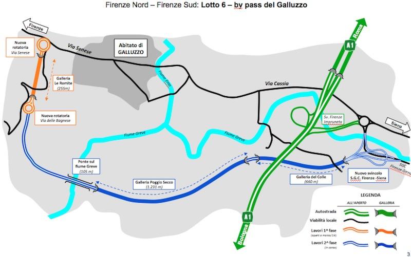 Il tracciato del nuovo by pass del Galluzzo