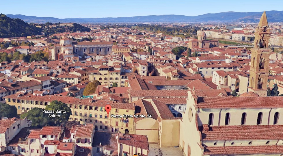 PIazza Santo Spirito a Firenze (immagine da Google Street Wiew)