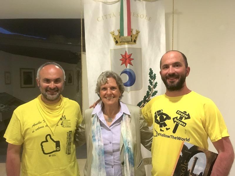 da sin. Donato Di Pierro, il sindaco di Fiesole Anna Ravoni e Dario Sorgato